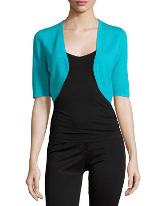 Half-Sleeve Wool Shrug, Aqua