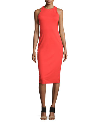 Cutout-Back Luxe Ponte Dress, Tomato