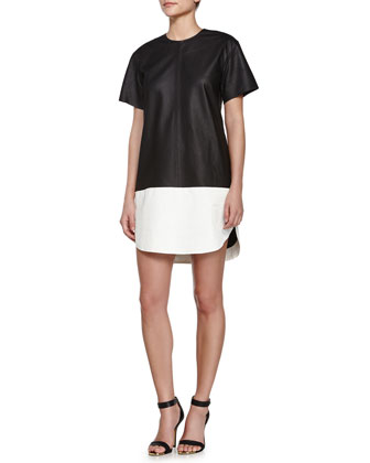 Colorblock Matte Leather Shift Dress, Black