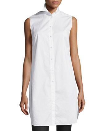 Poplin Sleeveless Shirtdress, White