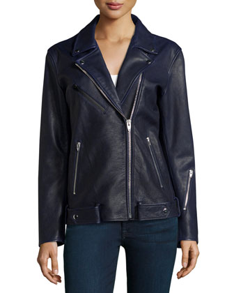 Oversized Waxed-Leather Biker Jacket, Ink