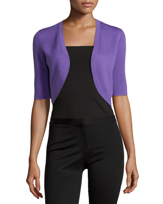 Half-Sleeve Wool Shrug, Hyacinth