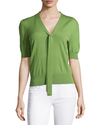 Half-Sleeve Front-Tie Top, Foliage