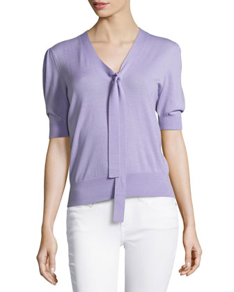 Puff-Sleeve Front-Tie Sweater, Lavender