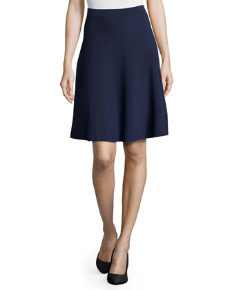 Slight-Ruffle A-Line Skirt, Indigo