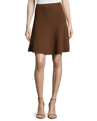 Slight-Ruffle A-Line Skirt, Nutmeg