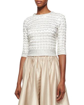 Half-Sleeve Chevron Beaded Top & Full Satin Ball Skirt