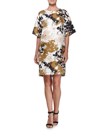 Chester Camouflage Short-Sleeve Dress, Camo