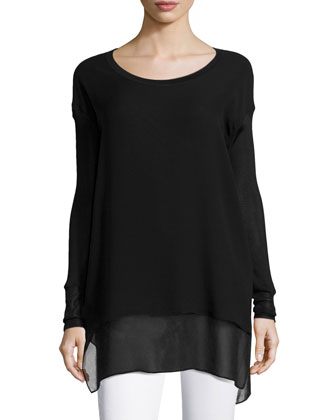 Daria Layered Silk Tunic, Caviar