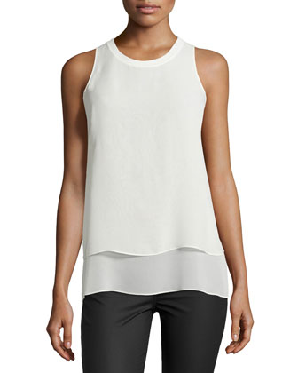 Daria Layered Sleeveless Top, Vanilla