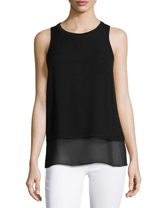 Daria Layered Sleeveless Top, Caviar
