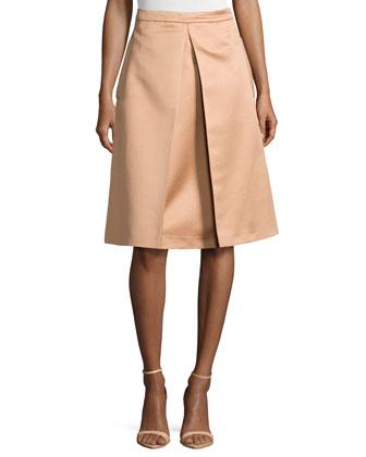 Inverted-Pleat Skirt, Suntan