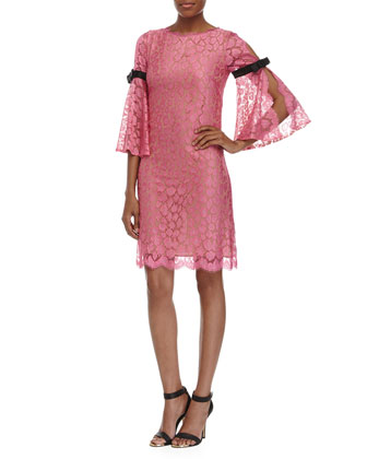 Leopard Lace Two-Tone Dress, Carnation
