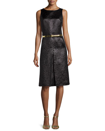 Metallic Center-Pleat Dress, Black