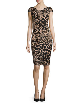 Giraffe-Print Origami Dress, Suntan/Black