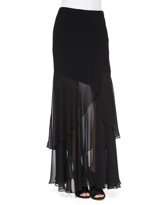 Sheer/Solid Wrap Skirt, Black