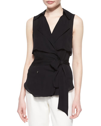 Draped Flap Snap Sleeveless Trench Blouse & Pleated Straight-Leg Capri Pants
