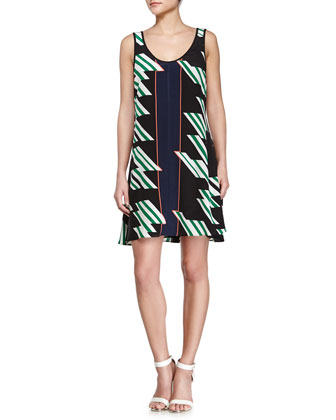 Crisscross Strappy Printed Dress, Black/Kelly/Midnight