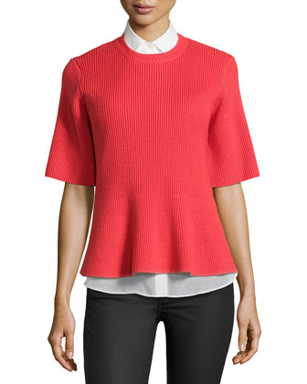 2-in-1 Short-Sleeve Sweater and Peplum Sleeveless Blouse