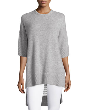 Short-Sleeve Honeycomb-Knit Tunic, Light Gray