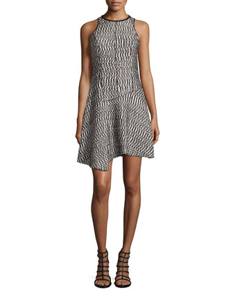 Sleeveless Open-Weave Dress w/Asymmetric Hem
