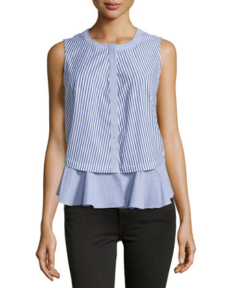 Sleeveless Striped Top W/Front Ruffle