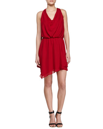 Cowl-Neck Racerback Dress, Scarlet