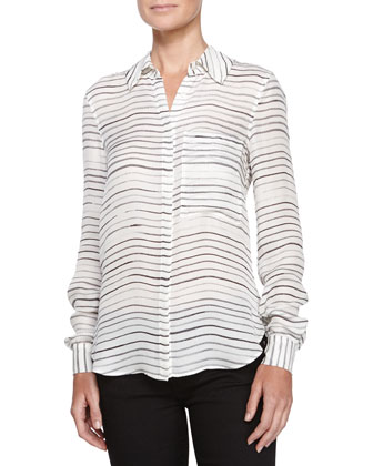Painterly-Stripe Silk Blouse, Swan/Black