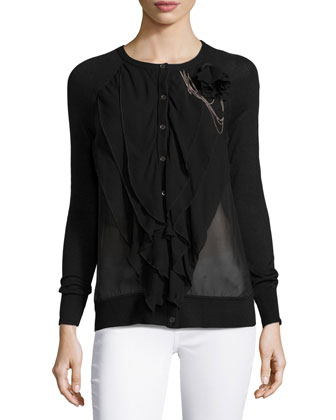Embellished Multi-Layer Cardigan, Black