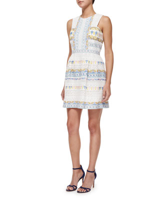 Cecile Multipattern Cocktail Dress, White