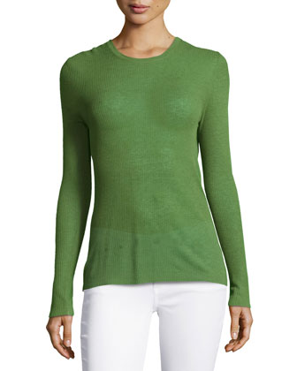 Ribbed Sheer Long-Sleeve Top, Grass