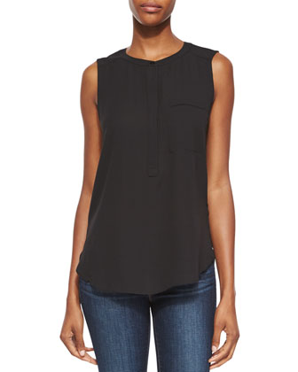 Sleeveless Pleated-Back Blouse