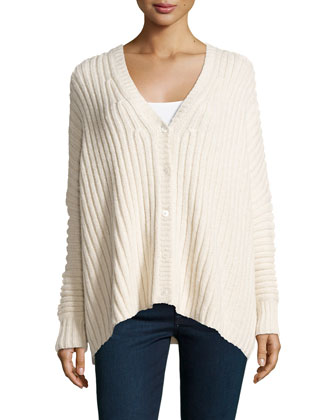 Ribbed Button-Front Cardigan, Vanilla