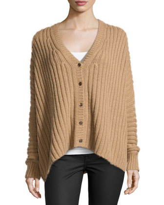 Wide-Ribbed Cardigan, Fawn