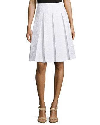 Animal-Print Pleated Skirt, Optic White