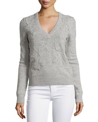 Cashmere Embroidered Long-Sleeve Sweater, Pearl Melange