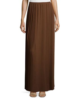 All-Around Pleated Long Skirt, Nutmeg