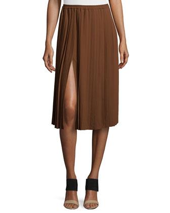 Pleated Midi Skirt, Nutmeg