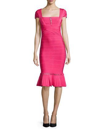 Muriel Twist-Detail Bandage Dress, Pink