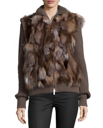 Long-Sleeve Shredded-Fox Sweater, Chestnut