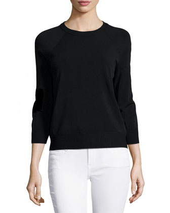 Three-Quarter-Sleeve Raglan Sweater, Black