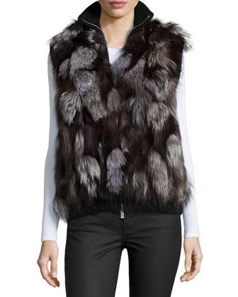 Shredded-Fox Sweater Vest, Black