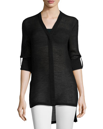 Swift Tab-Sleeve Blouse, Black