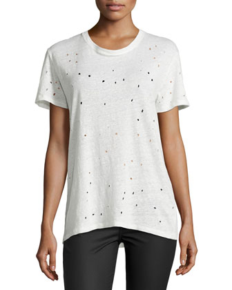 Clay Hole-Detail Tee, Ecru