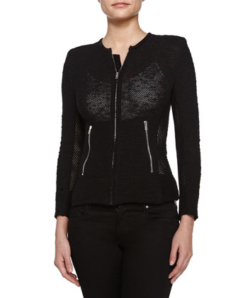 Amiya Mesh-Panel Jacket, Black