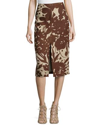Blossom Serge Pencil Skirt, Hemp/Nutmeg
