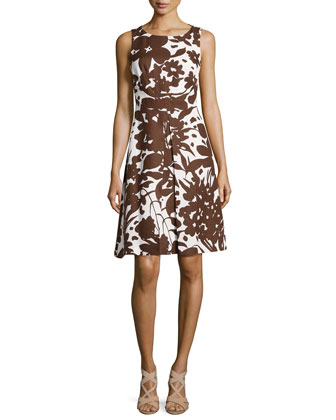 Blossom-Printed A-Line Dress, Optic White/Nutmeg