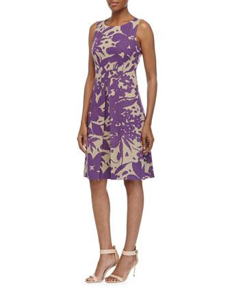 Sleeveless Blossom-Print Dress, Hemp/Hyacinth