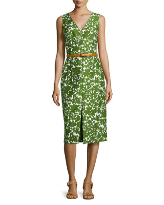 Floral-Print Sheath Dress, Optic White/Grass