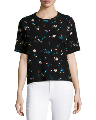 Petals Tubular Jacquard Boxy Top, Black/Multi